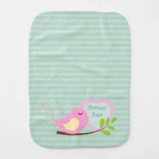 Teal Chevron Pink Bird Personalized Baby Burp Cloths