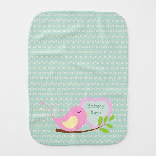 Teal Chevron Pink Bird Personalized Baby Burp Cloths