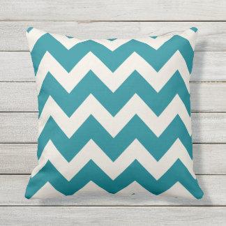 Teal Chevron Stripes | Throw Pillow