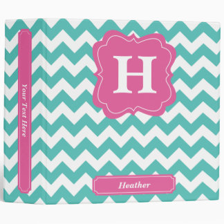 Teal Chevron Vinyl Binders