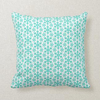 Teal Christmas Snowflakes on White Throw Pillow