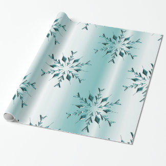 Teal Christmas Snowflakes Wrapping Paper