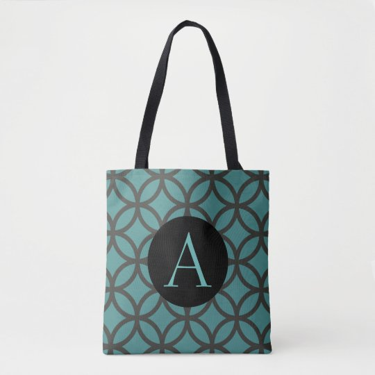 Teal Circle Pattern Tote Bag