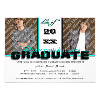 Teal CLASS OF Graduation Party Invitation