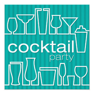 Teal cocktail party card