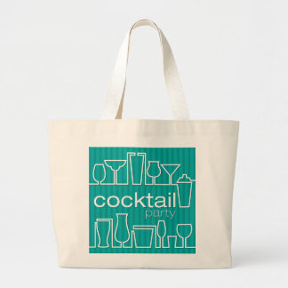 Teal cocktail party large tote bag