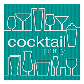 Teal cocktail party poster