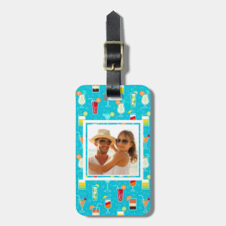 Teal Cocktail Pattern | Add Your Photo Bag Tag