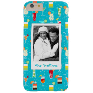 Teal Cocktail Pattern | Add Your Photo Barely There iPhone 6 Plus Case