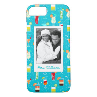 Teal Cocktail Pattern | Add Your Photo iPhone 8/7 Case