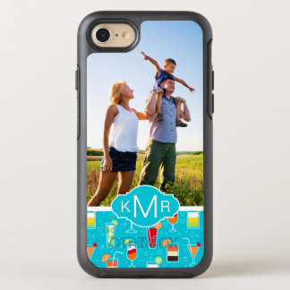 Teal Cocktail Pattern   Add Your Photo OtterBox Symmetry iPhone 7 Case