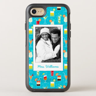 Teal Cocktail Pattern | Add Your Photo OtterBox Symmetry iPhone 8/7 Case