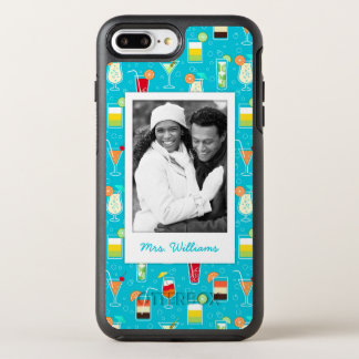 Teal Cocktail Pattern | Add Your Photo OtterBox Symmetry iPhone 8 Plus/7 Plus Case