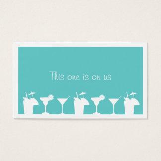 Teal cocktail wedding event custom drink ticket