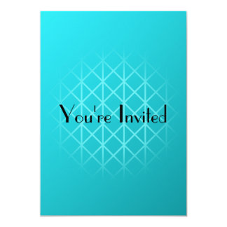"""Teal Color Background Design with Grid Pattern. 5"""" X 7"""" Invitation Card"""