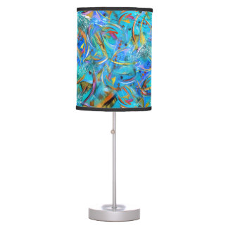 Teal Colorful Abstract Design Table Lamp by Juleez