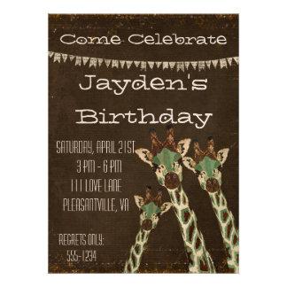 Teal Copper Giraffes Birthday Invitation