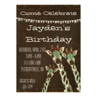 "Teal & Copper Giraffes  Birthday Invitation 5.5"" X 7.5"" Invitation Card"