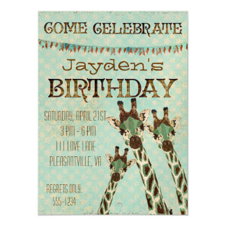 Teal & Copper Giraffes Stars Birthday Invitation
