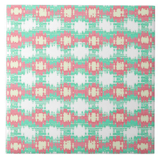Teal Coral and White Ikat Style Pattern Tile