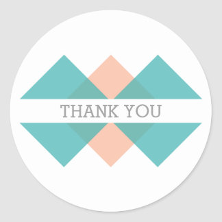 Teal Coral Geometric Triad Thank You Stickers