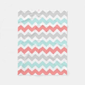 Teal Coral Grey Chevron Pattern Blanket