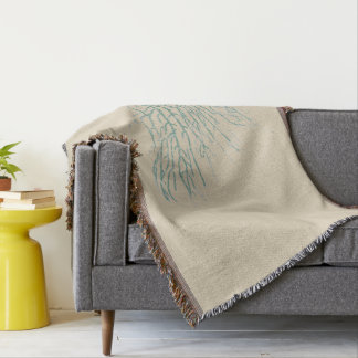 Teal Coral Naturals Throw Blanket