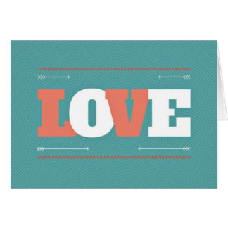 Teal & Coral Valentine Love Notecards Greeting Card