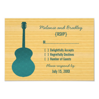 Teal Country Guitar Response Card Announcements