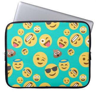Teal Crazy Emoji Pattern Laptop Sleeve