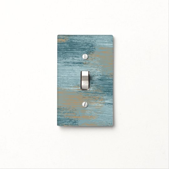 Teal Cream Abstract Light Switch Cover