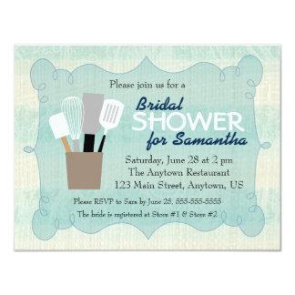Teal & Cream Burlap Bridal Shower Card