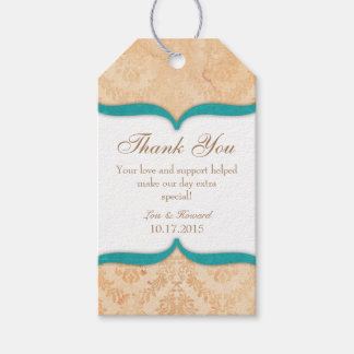 Teal Cream Vintage Damask Thank You Tags