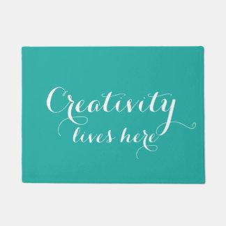 Teal Creativity Lives Here Doormat