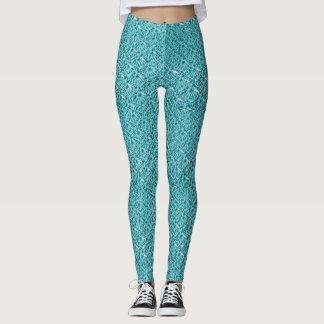 Teal Crochet Stitch Shape Leggings