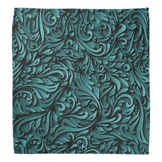 Teal Curly Paper Pattern Bandana