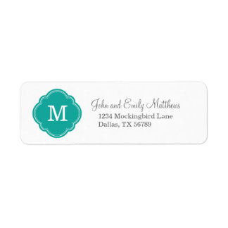 Teal Custom Personalized Monogram Return Address Label