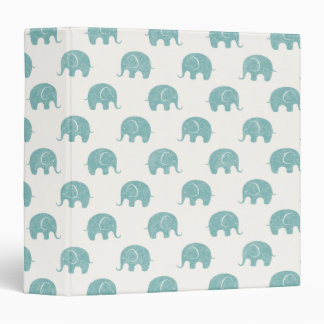 Teal Cute Elephant Pattern 3 Ring Binders