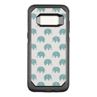 Teal Cute Elephant Pattern OtterBox Commuter Samsung Galaxy S8 Case