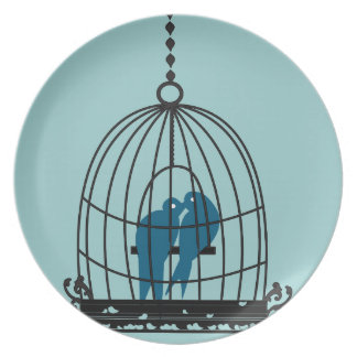 Teal Cute Kissing Love Birds Sitting in a Bird Cag Party Plate
