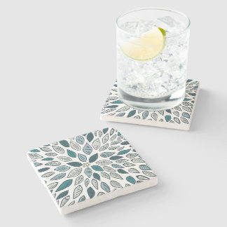 Teal Dahlia Flower Stone Beverage Coaster