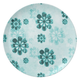 Teal Daisy Grunge Party Plate