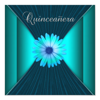 """Teal Daisy Teal Blue Quinceanera Teal Party 5.25"""" Square Invitation Card"""