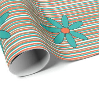 Teal Daisy Wrapping Paper