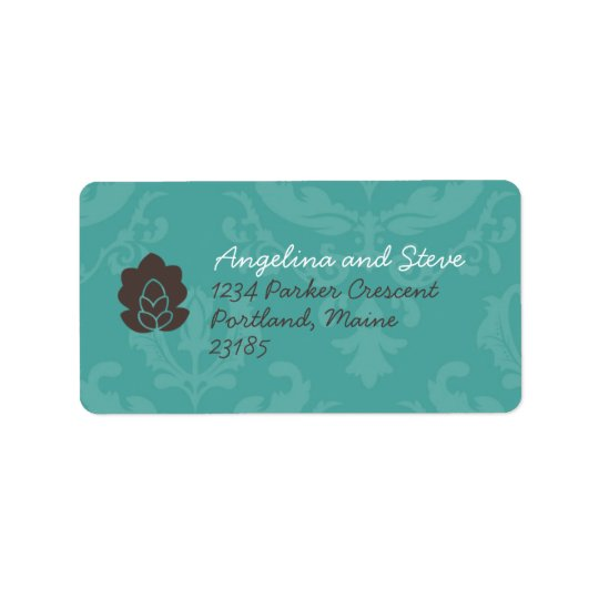 Teal Damask address labels