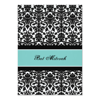 Teal Damask Bat Mitzvah Invitations