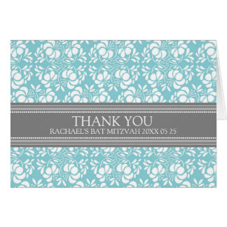 Teal Damask Bat Mitzvah Thank You Card