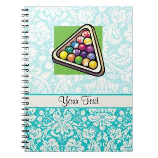Teal Damask Billiards Spiral Notebook