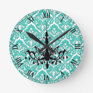 Teal Damask Black Chandelier Clocks