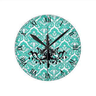 Teal Damask Black Chandelier Round Clock